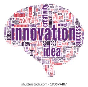 Innovation Concept Brain shaped word cloud