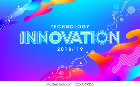 innovation concept in holographic fluid composition in modern typography. Design for event, wall graphics, poster and office graphics.