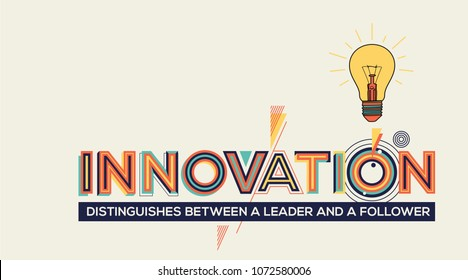 Innovation concept in modern typography. Innovation quote for your wall graphics, typographic poster, advertisement, web design and office space graphics.