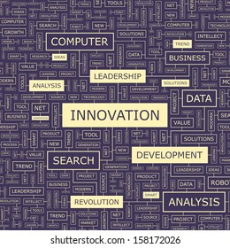 INNOVATION. Concept vector illustration. Word cloud with related tags and terms. Graphic tag collection. Wordcloud collage.