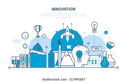 Innovation, creative thinking and creative process, brainstorming, imagination and vision, search for information and research. Illustration thin line design of vector doodles, infographics elements.