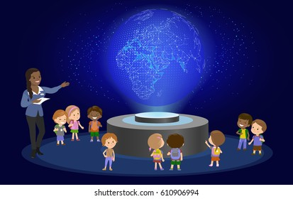 Innovation education elementary school learning blue glowing presentation geography astronomy concept - group of kids looking to planet earth. hologram space lesson future museum vector illustration