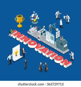 Innovation flat 3d isometric style idea realization process concept web infographics vector illustration. Lamp light bulb teamwork conveyor production trophy and big word. Creative people collection.