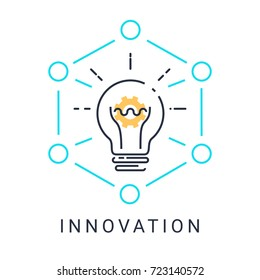 Innovation icon with light bulb and gear on white background with illustration design.vector EPS 10. Creative colorful minimalistic line icon