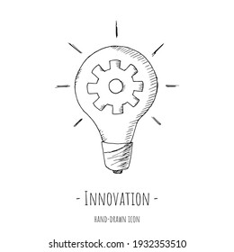 Innovation icon. Vector illustration. Isolated on white. Hand-drawn style.