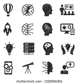 Innovation Icons. Black Scribble Design. Vector Illustration.