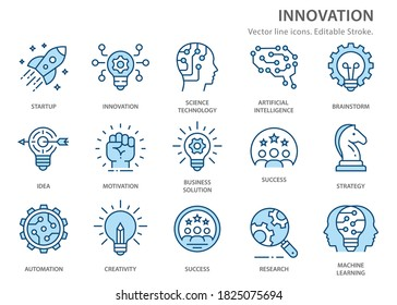 Innovation icons, such as analysis, technology, startup, business solution and more. Vector illustration isolated on white. Editable stroke.
