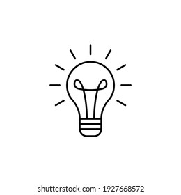 innovation Idea bulb icon in flat black line style, isolated on white background