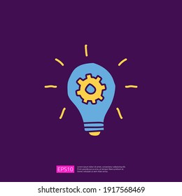 innovation idea concept icon with lamp bulb and gear sign symbol. engineering related doodle concept. fill color line vector illustration