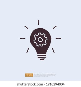 innovation idea concept icon with lamp bulb and gear sign symbol. engineering related doodle concept. solid style icon vector illustration