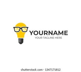 Innovation, light bulb in glasses nerd or geek, logo design. Inspiration, technology, innovative developments and discoveries, vector design and illustration