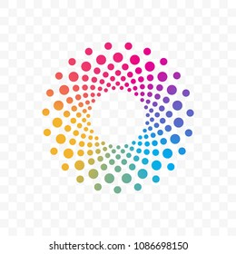 Innovation or technology company and web application vector logo icon of color dots circle