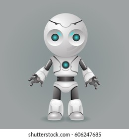 Innovation technology science fiction future cute little 3d robot design vector illustration