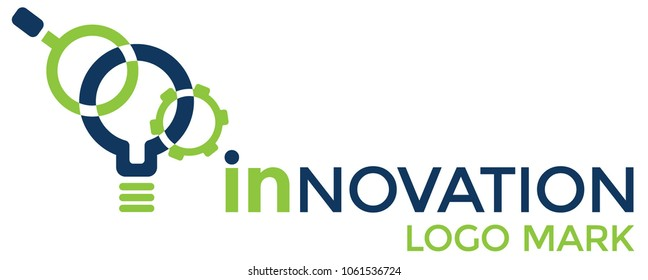 Innovation, technology or science logo with light bulb and magnifying glass.