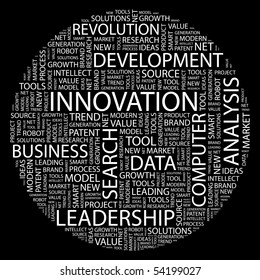 INNOVATION. Word collage on black background. Vector illustration.