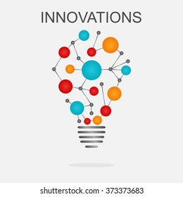 Innovations concept illustration. Light bulb with colored cells