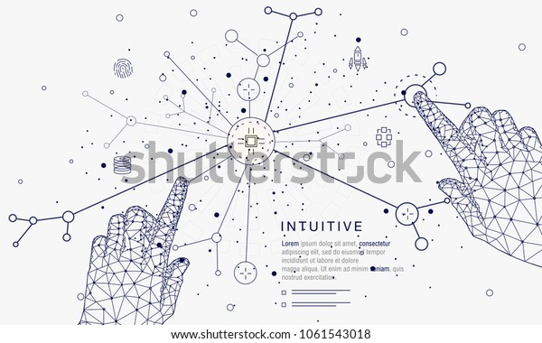 Innovations systems connecting people and robots devices. Future technologies in automatics cyborg systems and computers industry from awesome internet developments. Geometry style with linear pictogr