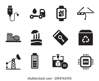 Innovations vector icons set with smart glasses, USB cable and 3d-printer. Thirteen simple icons
