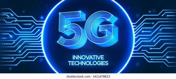 Innovative 5th Generation network technology. High speed mobile internet network.  Abstract  vector illustration in circuit board style. Neon blue style background.
