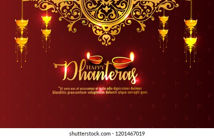 innovative abstract, banner or poster for   Dhanteras with Goddess Maa Lakshmi / Laxmi Charan for Indian dhanteras and diwali festival celebration