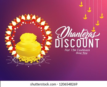 Innovative abstract, banner or poster for Dhanteras Discount with creative golden pot full of gold design illustration in a background.