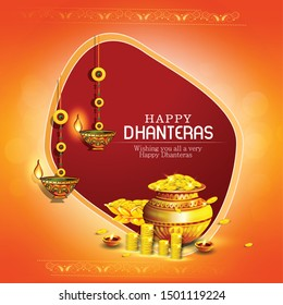 innovative abstract, banner or poster for Dhanteras with Goddess Maa Lakshmi / with Gold coin in pot for Indian dhanteras and diwali festival celebration