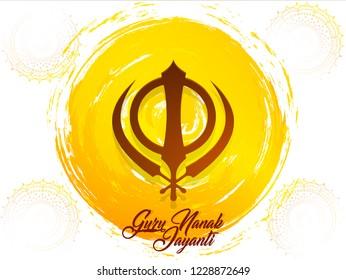 Innovative abstract, banner or poster for Guru Nanak Jayanti or Guru Parv with nice and creative design illustration, Kartik Purnima.