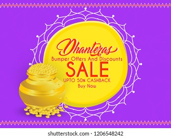 Innovative abstract or poster for Dhanteras Sale with nice and creative design illustration of golden pot, Dhanteras Sale