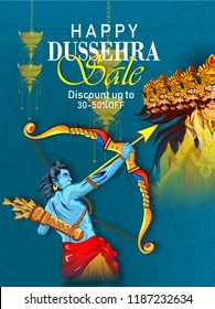 Innovative abstract or poster for Happy Dussehra, sale banner  background showing festival of India