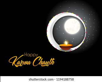 Innovative abstract or poster for Karwa Chauth or Karwa Chauth Poojan with nice and creative design illustration.