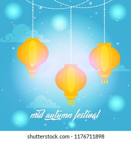 Innovative abstract or poster for Mid Autumn Festival with nice and creative design illustration, Lantern Festival