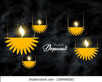 Innovative abstract or poster for Shubh Diwali or Shubh Deepawali with nice and creative design illustration, Creative hanging deep design.