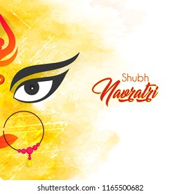 Innovative abstract or poster for Shubh Navratri or Durga Puja with nice and creative Maa Durga design illustration in a background.