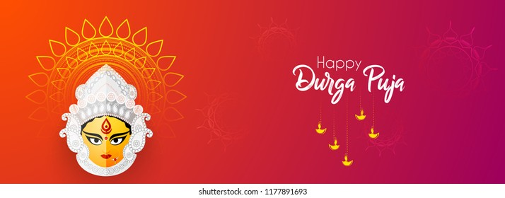 Innovative abstract or poster for Shubh Navratri with nice and creative Maa Durga design illustration, Shubh Navratri, Durga Puja.