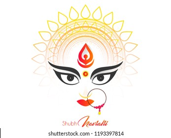 Innovative abstract or poster for Shubh Navratri or Durga Puja with nice and creative design illustration, Shubh Navratri.