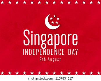 innovative abstract or poster for Singapore Independence Day or 9th of August with nice and creative red colored design illustration in a background, 9th of August.