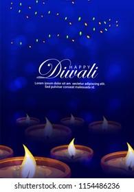 innovative abstractgreeting or poster for Diwali or Deepawali with creative diya  illustration
