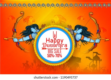 Innovative banner poster for Lord Rama killing Ravana during Dussehra festival of India with message in Hindi meaning wishes for Dussehra
