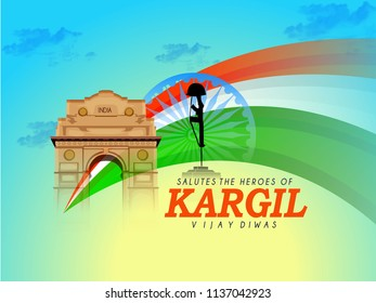 innovative  and beautiful abstract, banner or poster for Kargil Vijay Diwas  and creative design illustration with brush stock