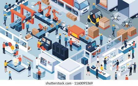 Innovative contemporary smart industry: product design, automated production line, delivery and distribution with people, robots and machinery, industry 4.0 concept