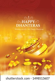 innovative design for Dhanteras with Goddess Maa Lakshmi for Indian dhanteras and diwali festival celebration