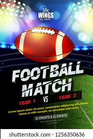 Innovative design football league poster, banner or flyer design, football ground as background.