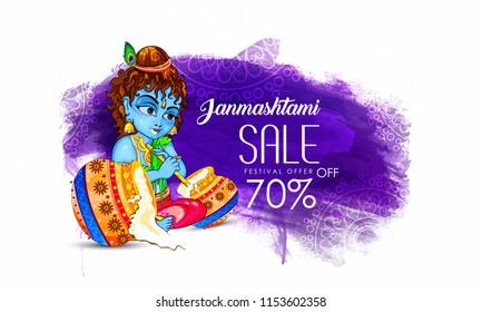 Innovative design or poster, sale for Krishna Janmashtami , dahi handi with creative design illustration ,Lord Krishna Birthday.
