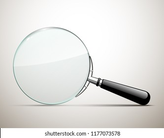 Innovative empty illustration 3d realistic loupe icon isolated on the White backdrop. Creative banner illustration modern design magnifying glass logo for Zoom And Tool with black handle with shadow.