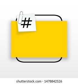 Innovative empty template against the White backdrop. Yellow flat paper Creative banner illustration hashtag in frame with clip. Yellow Color paper template modern typography hashtag design with clip