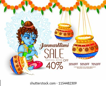 Innovative greeting card  poster for  Happy Janmashtami or Dahi Handi  sale 40% Celebration with creative design illustration in a background