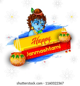 Innovative greeting card poster for Happy Janmashtami or Dahi Handi sale 40% Celebration with creative design illustration