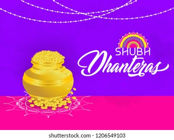 Innovative header, banner or poster for Shubh Dhanteras with creative golden pot full of gold design illustration in a background.