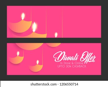 Innovative header, banner or poster for Shubh Diwali Offer with nice and creative design illustration in a background, Diwali Offer.