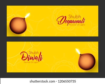 Innovative header, banner or poster for Shubh Diwali with nice and creative design illustration in a background.